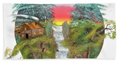 Cabin By The Falls Beach Towel