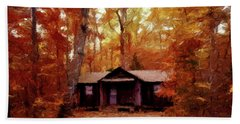 Beach Towel featuring the painting Cabin In The Woods P D P by David Dehner