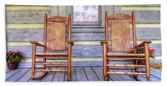 Cabin Porch Beach Towel by Marion Johnson