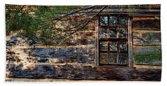 Beach Towel featuring the photograph Cabin Window by Joanne Coyle