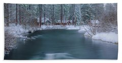 Beach Towel featuring the photograph Cabins On The Metolius by Cat Connor