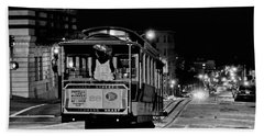 Cable Car At Night - San Francisco Beach Towel