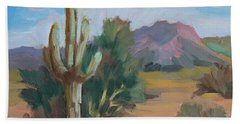 Beach Towel featuring the painting Cactus By The Red Mountains by Diane McClary