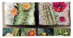 Beach Sheet featuring the painting Cactus Collage 10 by Marilyn Smith