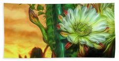 Cactus Flower At Sunrise Beach Towel