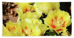 Beach Sheet featuring the photograph Cactus Flowers And Friend by Sheila Brown
