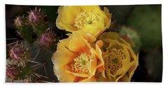 Yellow Cactus Flowers Beach Sheet