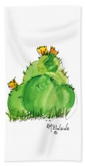 Cactus In The Yellow Flower Watercolor Painting By Kmcelwaine Beach Towel