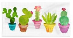 Cactus Plants In Pretty Pots Beach Towel