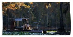 Caddo Pile Driving - Rig 2 Beach Towel by Lana Trussell