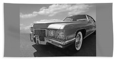 Cadillac Coupe De Ville 1971 In Black And White Beach Sheet