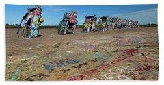Cadillac Graffiti Beach Sheet by Tim Stanley