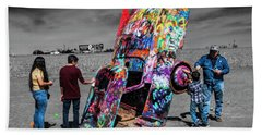 Beach Towel featuring the photograph Cadillac Ranch Spray Paint Fun Along Historic Route 66 By Amarillo Texas by Randall Nyhof