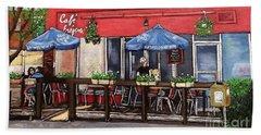 Cafe Frejus Verdun Beach Sheet by Reb Frost