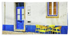Cafe In Portugal Beach Sheet by Marion McCristall