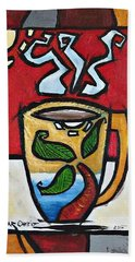 Beach Towel featuring the painting Cafe Palmera by Oscar Ortiz