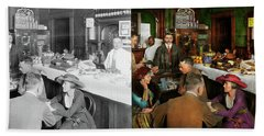 Beach Towel featuring the photograph Cafe - Temptations 1915 - Side By Side by Mike Savad