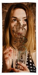 Cafe Tin Sign Girl Drinking Chocolate Milkshake Beach Towel