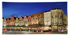 Beach Towel featuring the photograph Cafes And Restaurants On Markt Square - Bruges by Barry O Carroll