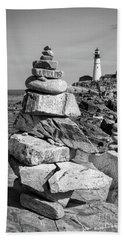Cairn And Lighthouse  -56052-bw Beach Sheet