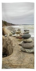 Cairn On The Beach Beach Sheet by Kimberly Mackowski