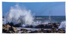 Wave Crashing On California Coast Beach Towel