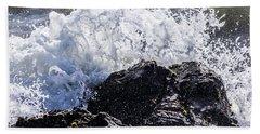 California Coast Wave Crash 4 Beach Towel