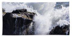 California Coast Wave Crash 6 Beach Towel