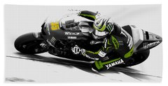 Beach Towel featuring the mixed media Cal Crutchlow by Brian Reaves