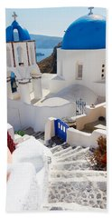 Caldera With Stairs And Church At Santorini Beach Towel