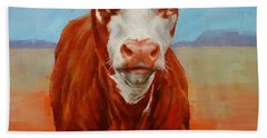 Beach Towel featuring the painting Calf Stare by Margaret Stockdale