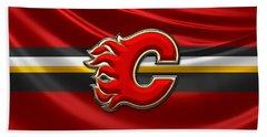 Calgary Flames - 3d Badge Over Flag Beach Towel