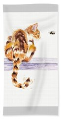 Calico Cat Bee Watchful Beach Sheet