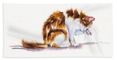 Calico Cat Washing Beach Towel