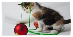 Calico Kitten And Christmas Ornaments Beach Towel