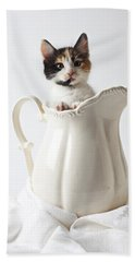 Calico Kitten In White Pitcher Beach Towel