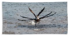 California Brown Pelicans Flying In Tandem Beach Towel