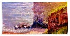 Beach Sheet featuring the painting California Cliffs.. by Cristina Mihailescu
