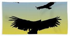 California Condors In Flight Silhouette At Sunrise Beach Sheet