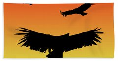 California Condors In Flight Silhouette At Sunset Beach Towel