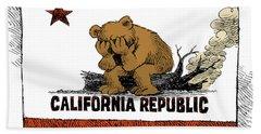 California Fire Bear Grieves Beach Sheet