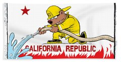 California Firefighter Flag Beach Towel