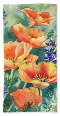California Poppies In Bloom Beach Sheet