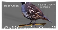 California Quail - Color Bird - White Text Beach Towel