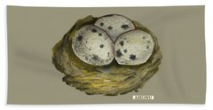 California Quail Eggs In Nest Beach Towel