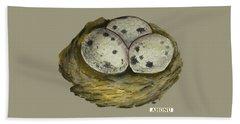California Quail Eggs In Nest Beach Sheet