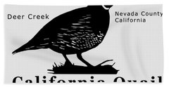 California Quail - White Beach Towel