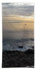Beach Sheet featuring the photograph California Sunset by Joan  Minchak