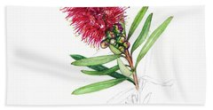 Beach Towel featuring the drawing Callistemon Christmas by Heidi Kriel
