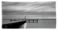 Calm Barnegat Bay New Jersey Black And White Beach Towel